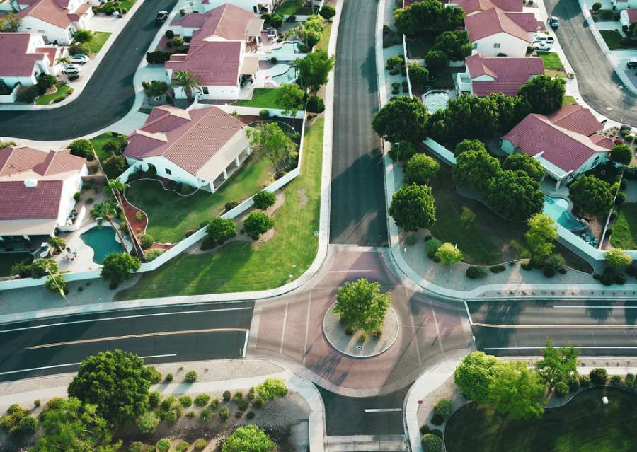 aerial photo of red and white houses